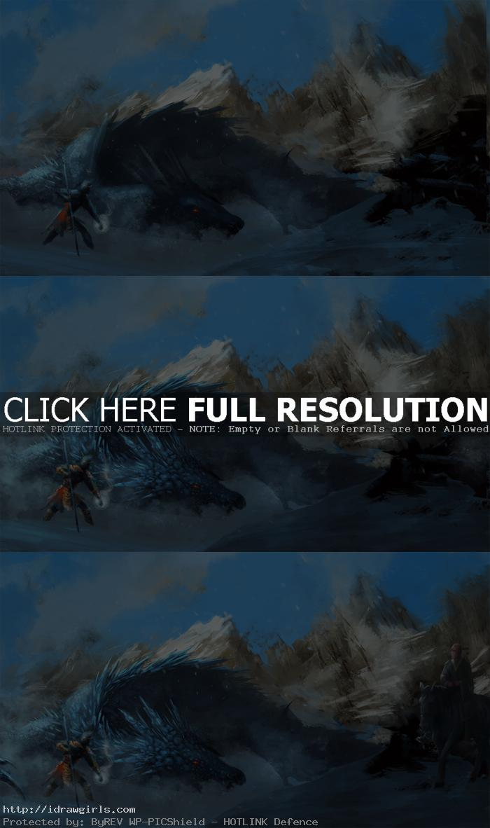 ice dragon digital painting process Ice dragon vs Sun Wukong digital painting process