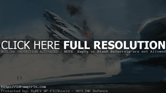 Digital painting process UFO crashes step by step