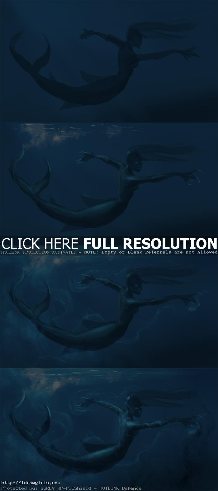 digital painting process mermaid Digital painting tutorial mermaid