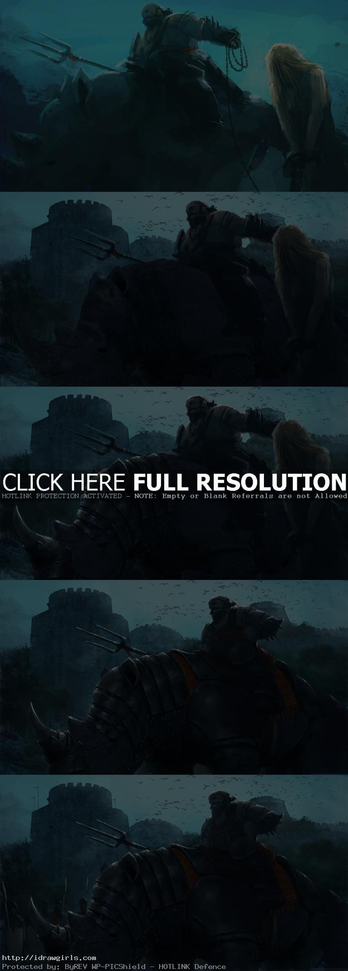 digital painting tutorial rhino knight 02