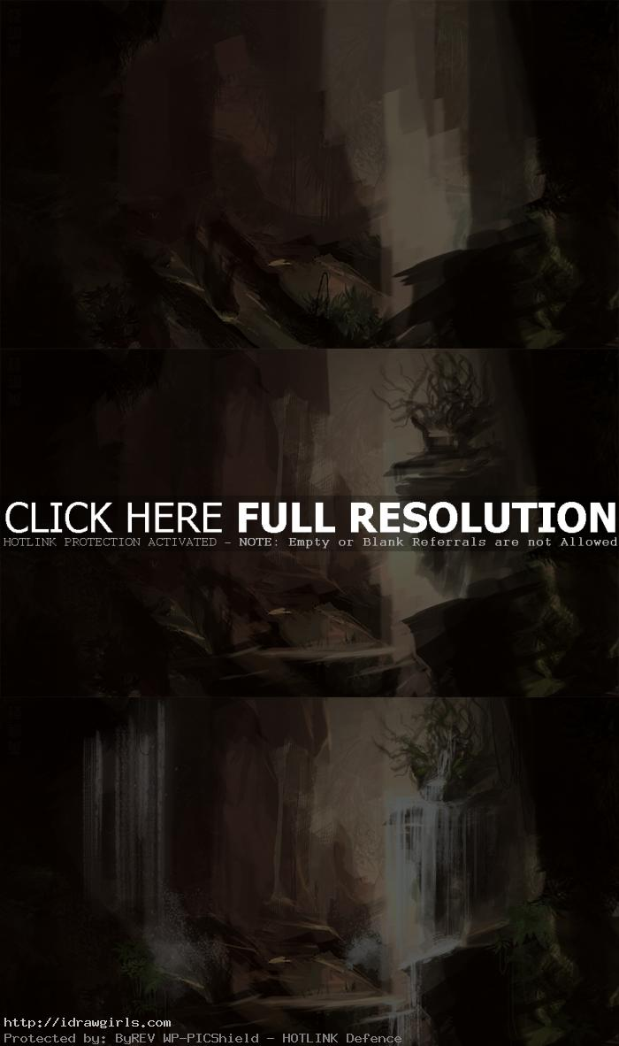 digital painting tutorial waterfall process