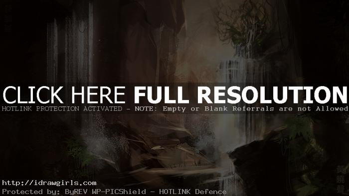 Magic waterfall throne speedpainting