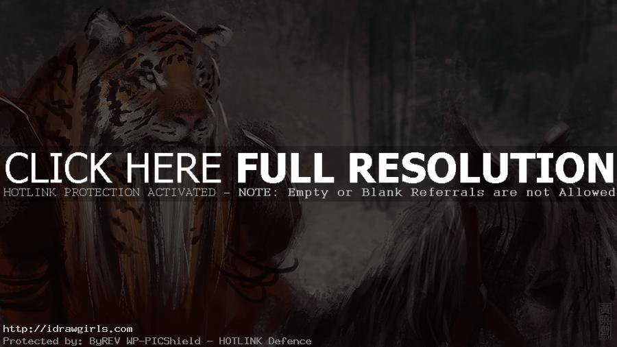 Digital painting tutorial creature concept tiger warrior