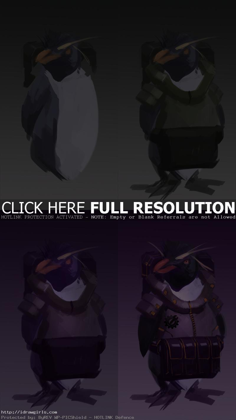 penguin mechanic creature concept tutorial