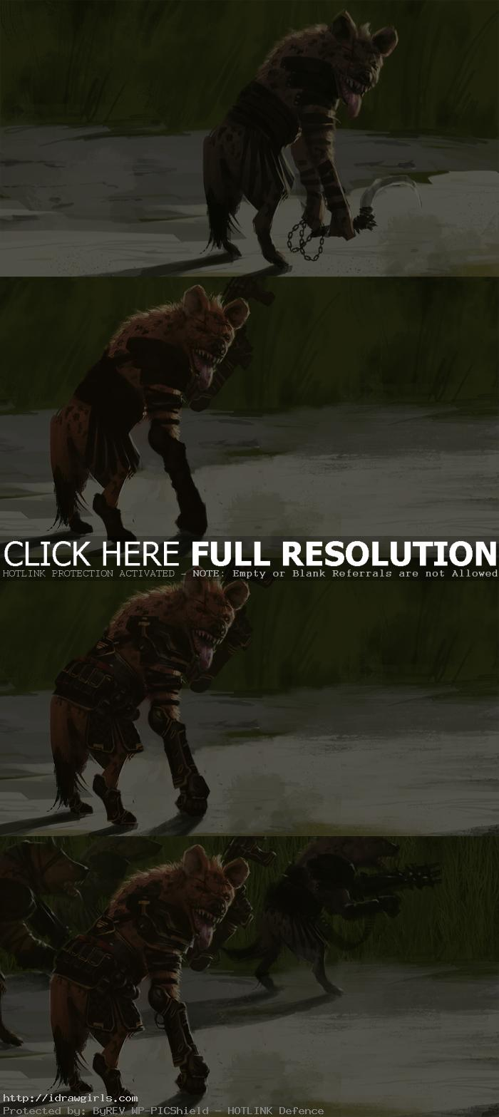 concept art tutorial hyenas gang Digital painting tutorial Gnoll Hyena commandos