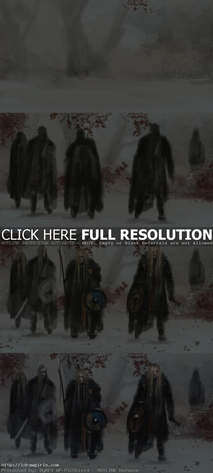 how to paint concept art Digital painting tutorial shield maidens concept art