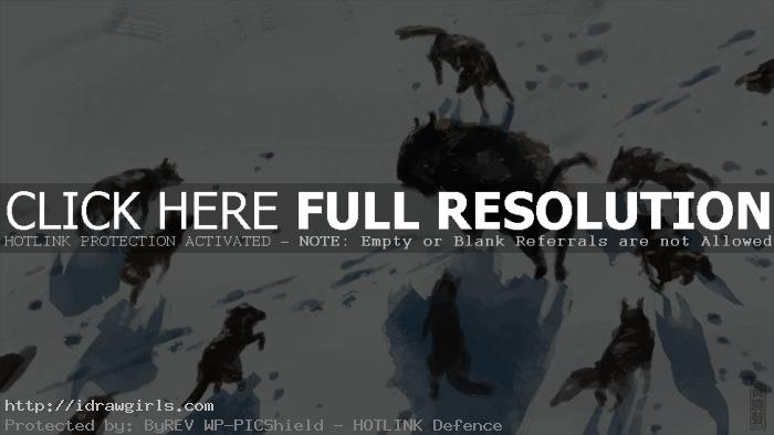 Wolf pack and Bison digital painting tutorial.