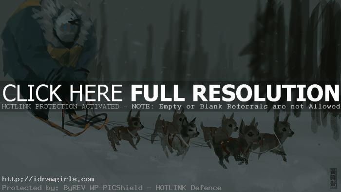 Dog sledge digital painting tutorial