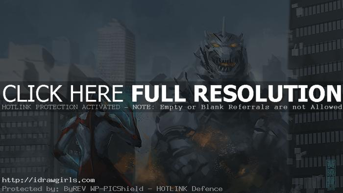 mecha godzilla speed painting