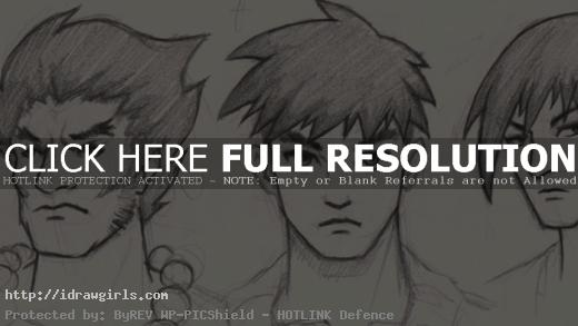 Draw Manga 3 different faces men