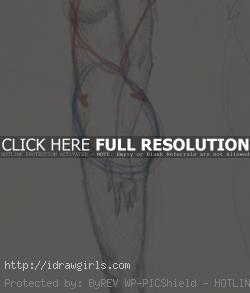Draw woman body from side view step 1
