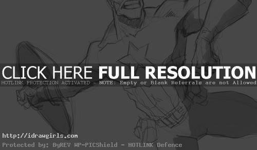 Drawing comics action pose Captain America
