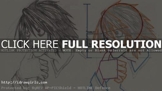 L Death Note drawing tutorial