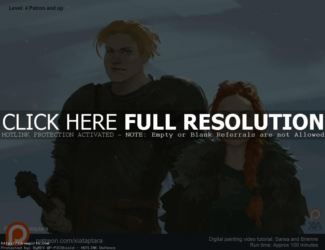 Sansa and Brienne digital painting video tutorial
