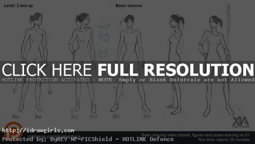 drawing female basic poses tutorial