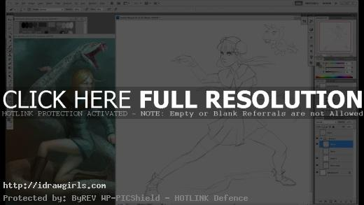 Drawing girl in action pose with Unicorn