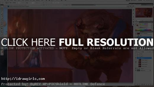 Drawing Beauty and the Beast digital painting tutorial