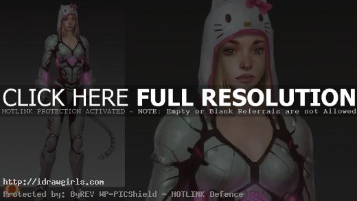 Kitty mech assassin character design process
