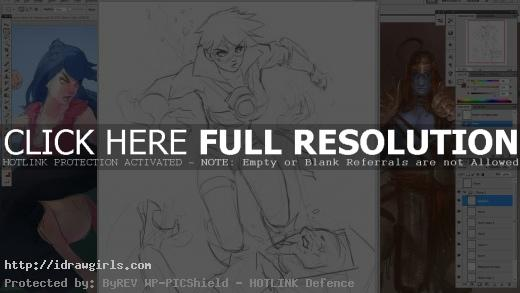 Drawing action pose Tracer VS Reaper from Overwatch