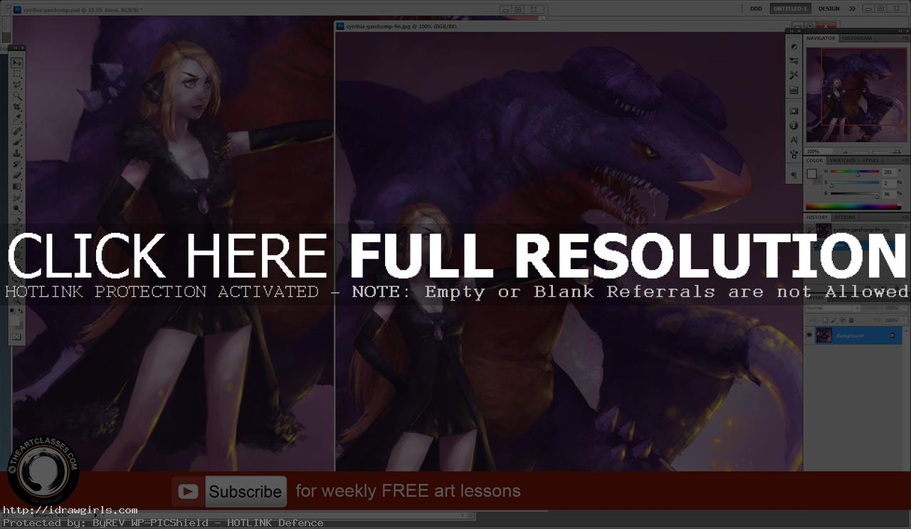 Pokemon Cynthia and Garchomp digital painting tutorial