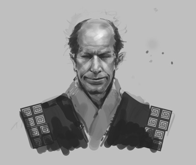 concept, drawing, sketch, how to, tutorial, face, samurai, man, old,  comics, manga