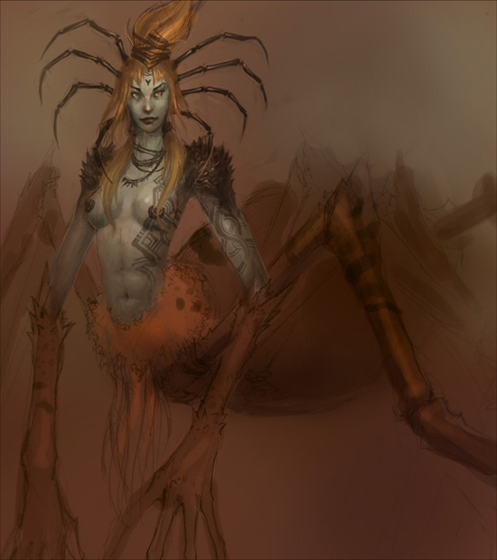 drider, demon queen, creature, concept art, illustration, manga, anime, comics, sexy, female, woman, spider
