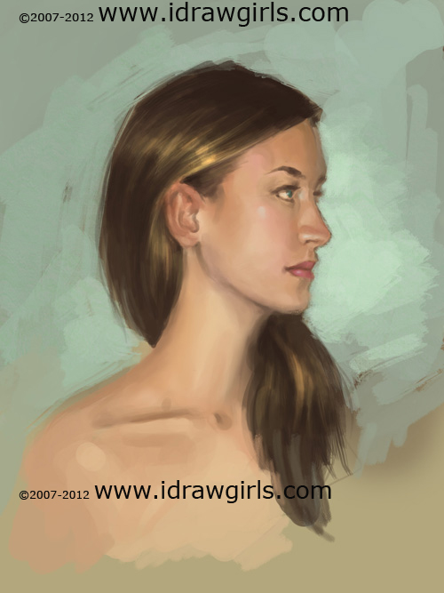 painting woman face side view