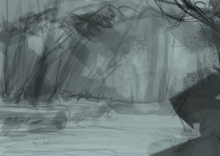 forest, woods, jungle, comics, storyboard, environment, concept, art, landscape