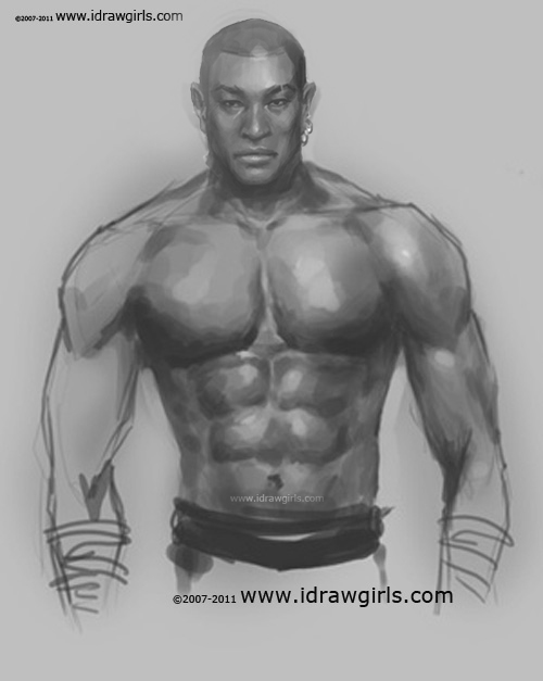 drawing male muscle body Drawing man upper body chest