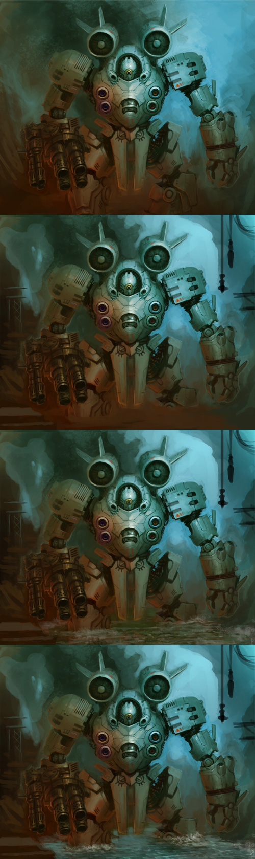 digital painting process mecha