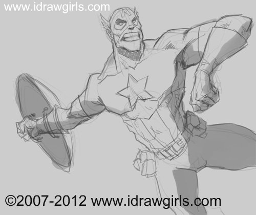 drawing marvel captain america How to draw Captain America action pose