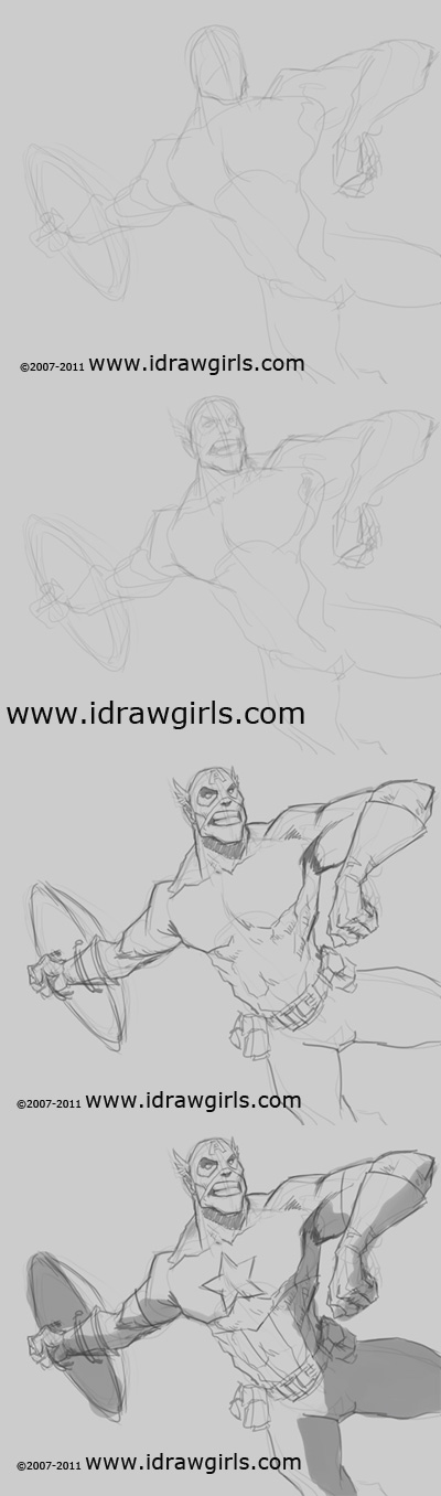 how to draw comics captain america How to draw Captain America action pose