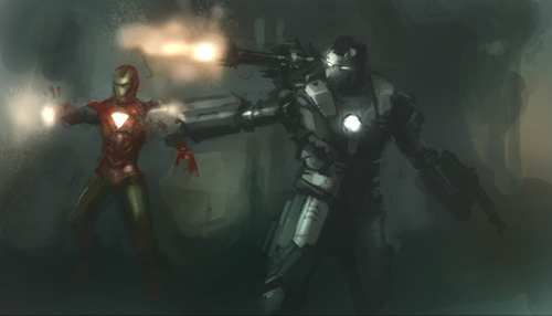 digital painting process, ironman, war machine, speedpainting