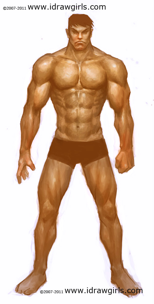 How to draw human, paint male muscle