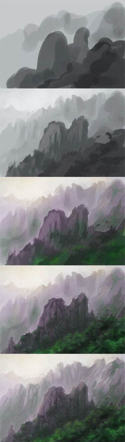 how to paint landscape, draw background, speedpainting