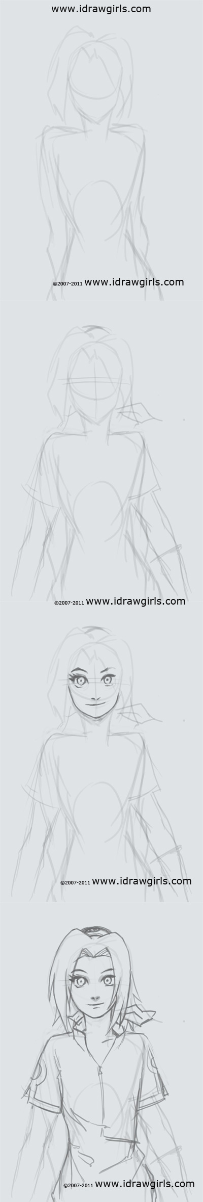 how to draw manga, Naruto, Sakura, anime girl, tutorial