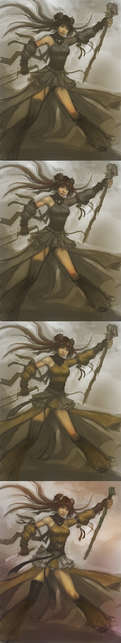 manga tutorial painting character Draw and paint female wizard step by step