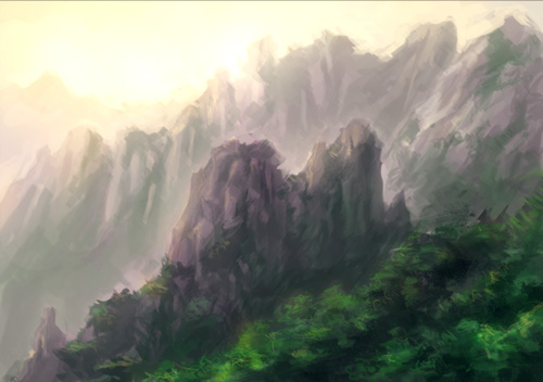painting mountains, draw background, speedpainting
