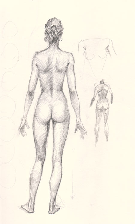 How to draw woman back view