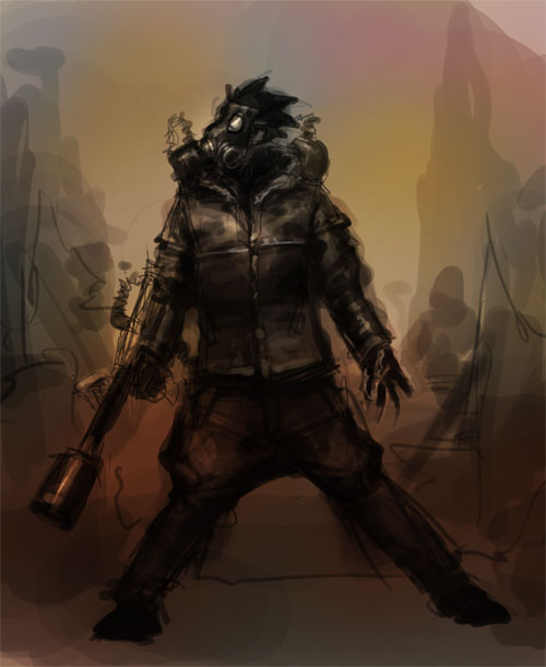 gasmask dude speedpainting How to draw gasmask soldier