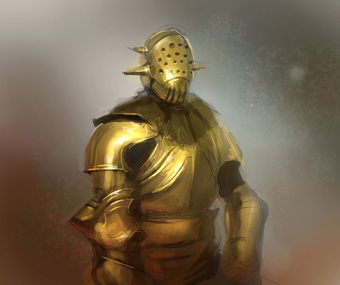gold armor concept art tutorial How to paint gold armor