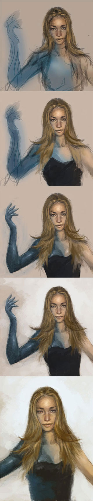 digital painting tutorial face and hair