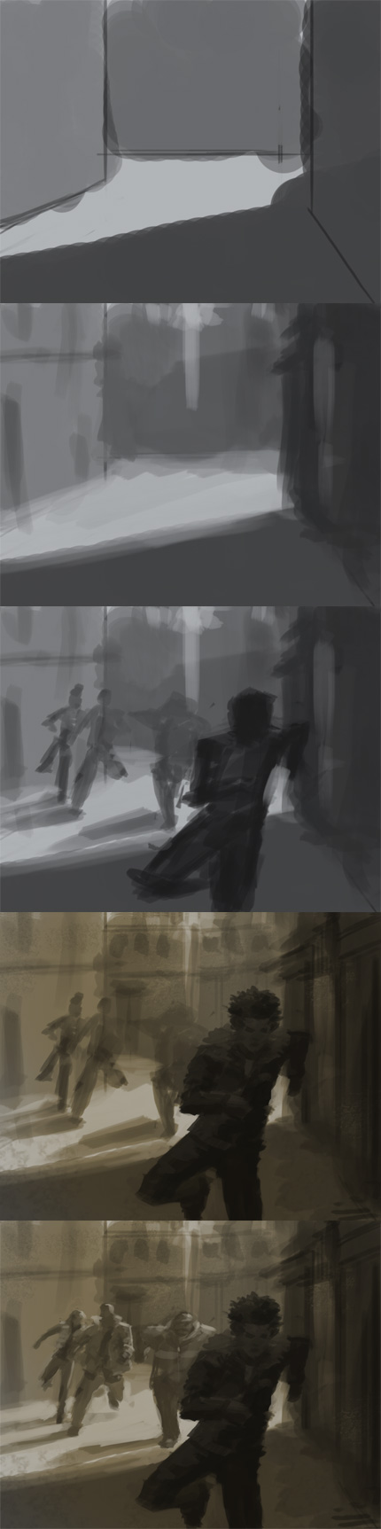 digital painting tutorial storyboard art Painting light and shadow in environmental design.