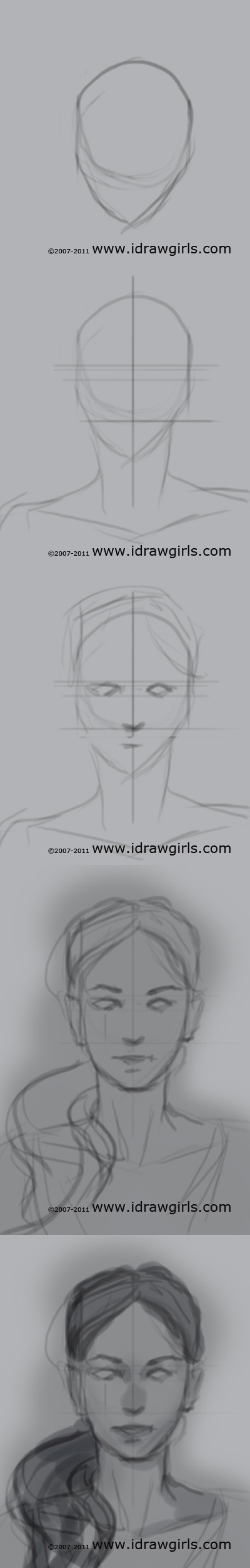 draw portrait tutorial front Draw realistic face front view