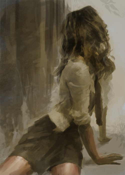 Values tonal study female figure