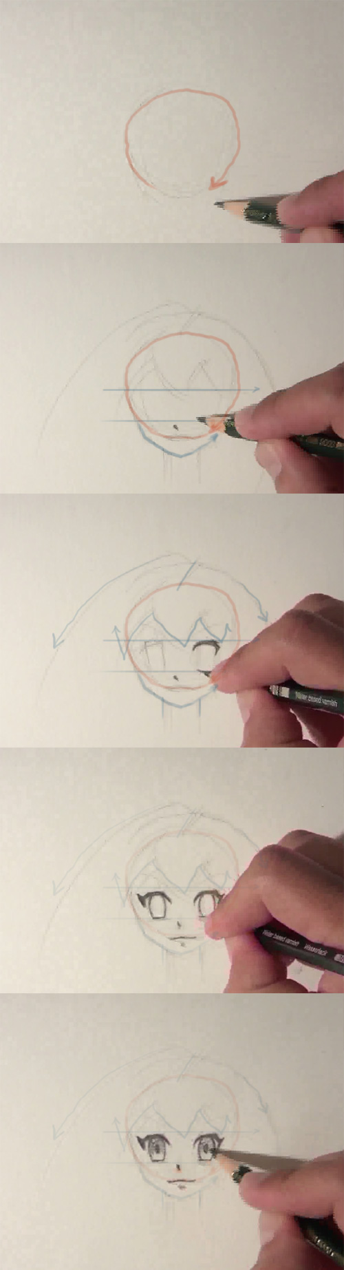 How to draw Anime girl face front view