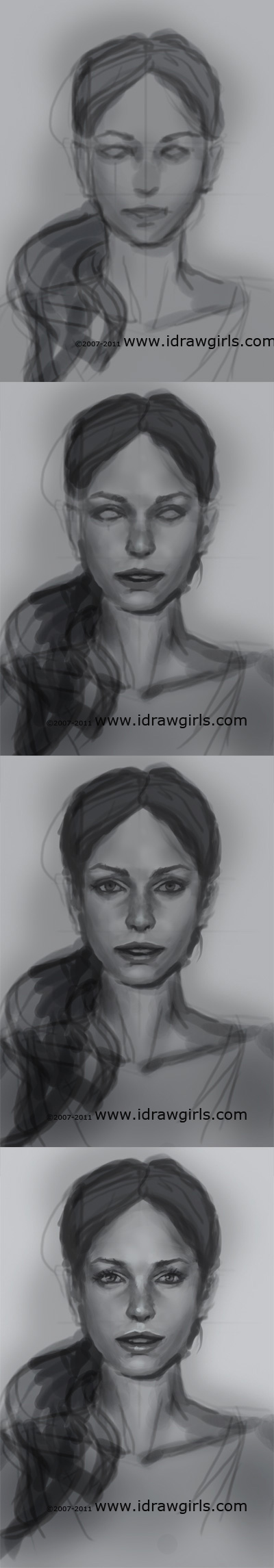 how to draw realistic face Draw realistic face front view