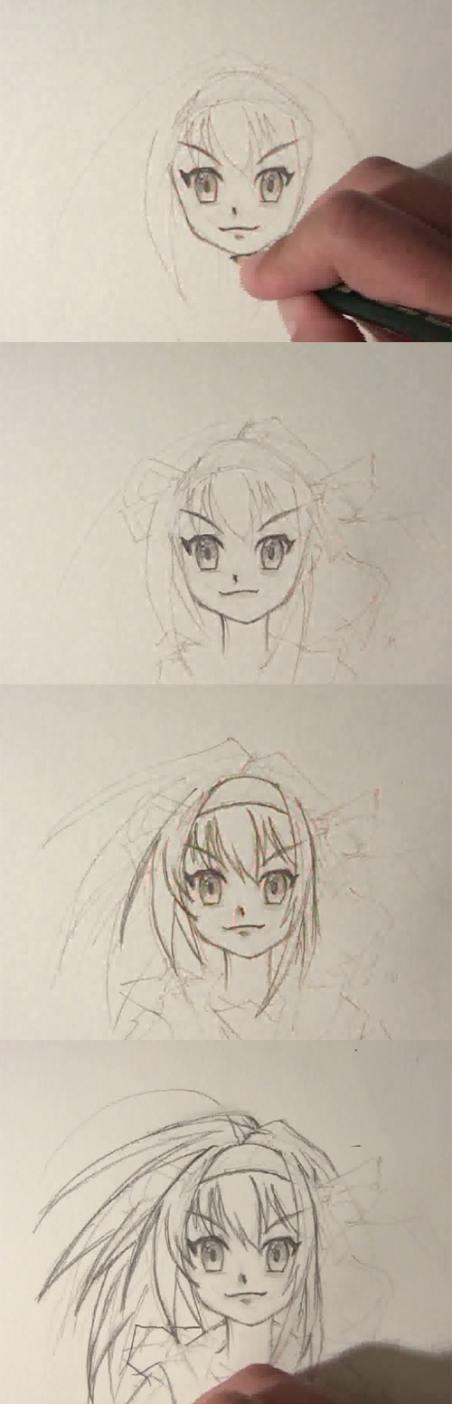 learn draw anime face How to draw Anime girl face front view