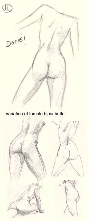 GirlButts Tutorial001f How to draw woman hip