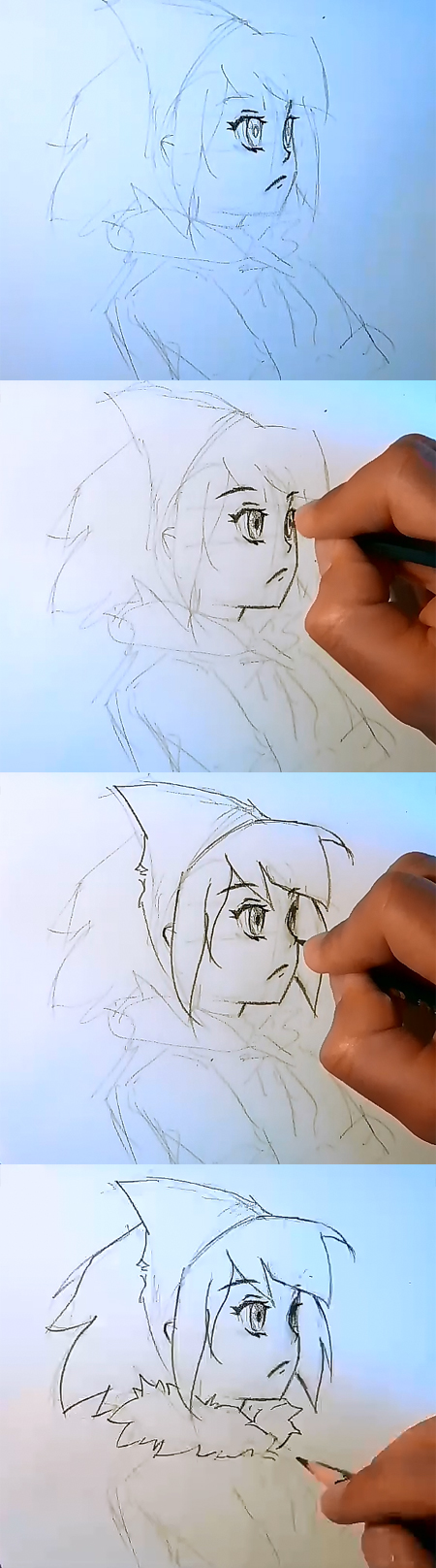 anime drawing lesson 02 How to draw Anime girl face side view